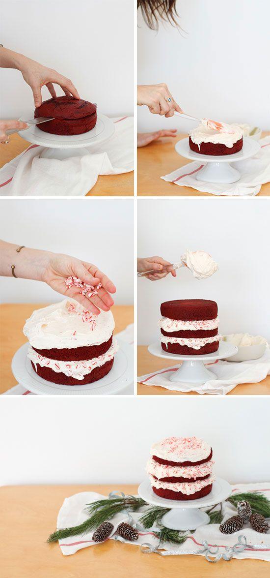 Como Fazer hum bolo de Camada de Veludo Vermelho com hortelã-pimenta queijo creme Glacê