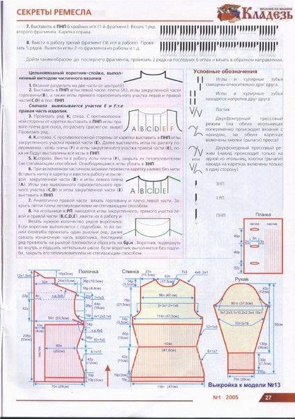 Цельновязаный воротник-стойка чпстичным вязанием. Журнал: Кладезь №1 2005