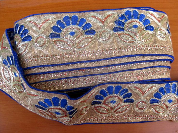 9 meters.Border, lace,  embroidered sequin border/ blue border/ floral border/ sequin border. (360 inches approx.). by vibrantscarves on Etsy