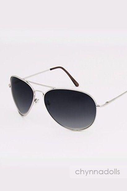 Sunglasses Aviator Sunglasses Silver Frames Dark Lenses