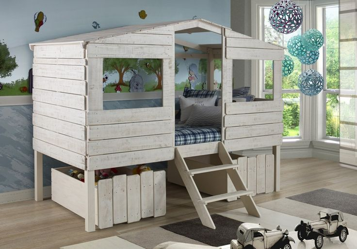 Tree House Loft Beds for Kids with Storage Drawers