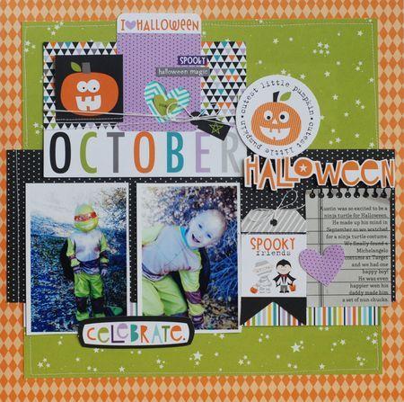 Bella Blvd Halloween Magic collection. October layout by DT member Becki Adams