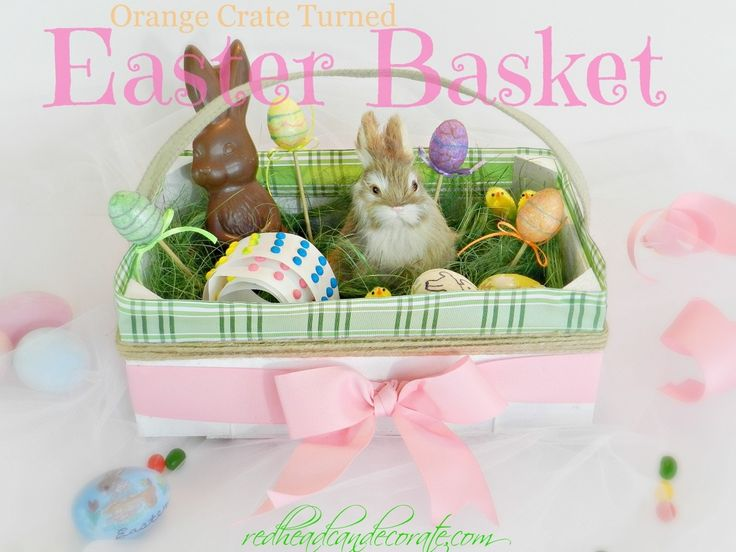 Can't tell you how many times I've looked at the cuties orange crate and wondered what to do with it, never would have thought an Easter basket!