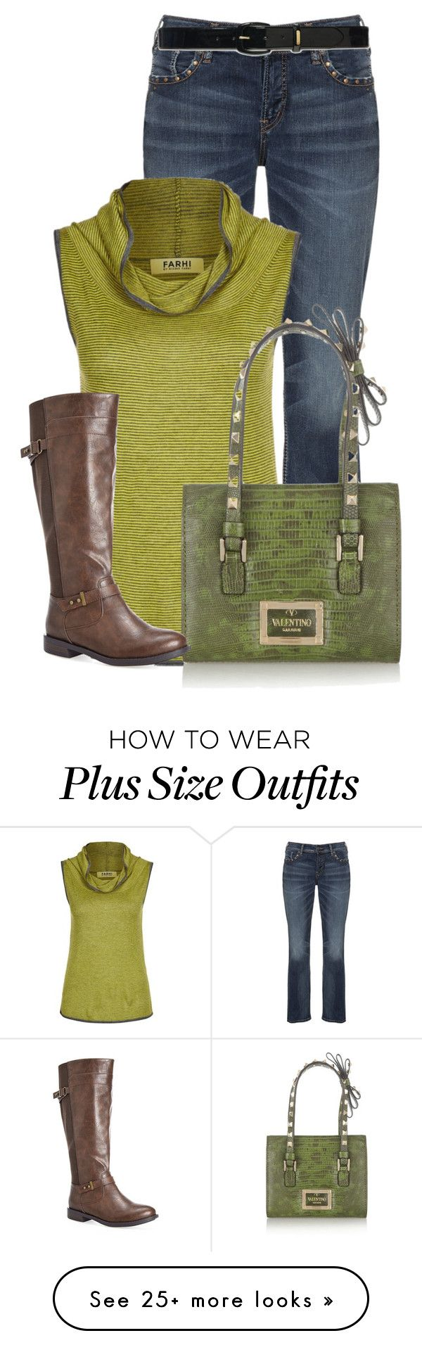 """""""Untitled #13263"""" by nanette-253 on Polyvore featuring Silver Jeans Co., Farhi by Nicole Farhi, Valentino, Lauren Ralph Lauren and Avenue"""
