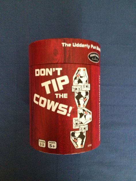 Publisher Blurb:  Cow Tipping is America's second favorite sport (only to fishing) and this fun stacking game has it all. 18 adorable, stackable cows, just waiting to be stacked and tipped. The goal is not to be the one to make the stack fall.