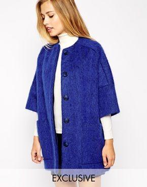 Studio 4 London - Cappotto stile kimono in soffice lana con tasche applicate