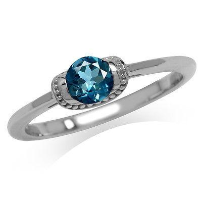Petite Genuine London Blue Topaz 925 Sterling Silver Promise Ring SZ 7