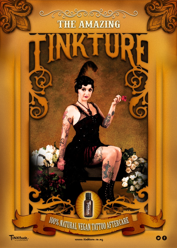 New TINKture posters - aren't they fab! Model is Nursey from Dr Morse Inc. - design work by George Williams of @Kelly Cavallo - we just LOVE this 1920's look!