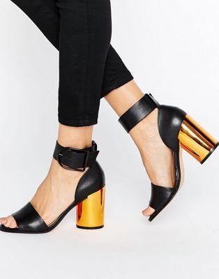 Кожаные сандалии на каблуке ASOS HOLD ON Premium