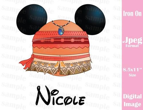 Personalized Disney Inspired Princess Moana Mickey Ears Family Vacation Jpeg Format for Iron On