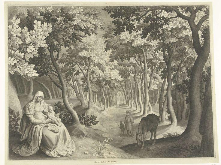 Nicolaes de Bruyn | Landschap met de rust op de vlucht naar Egypte, Nicolaes de Bruyn, 1622 |