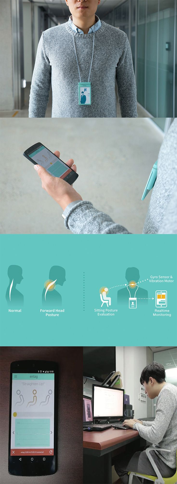 Good posture is key for your health but sitting at a desk, staring at a computer all day makes it near impossible, the 'Entag' is the latest in a trend of  wearable devices that helps you keep your spine in line... READ MORE at Yanko Design !