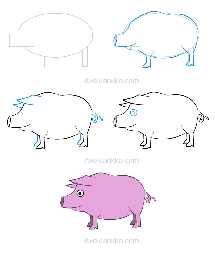 78 best images about how to draw on pinterest drawing tutorials how to draw animals and how - Cochon a dessiner ...