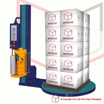 STEP-108 Pallet Wrapping Machine Ø1500/H2000mm  Pallet stretch wrapper that has it all. Motorised pre-stretch 230/300%, cut of film when cycle complete, variable turntable and film aggregate speed, 3 programs, for pallet height 2000mm with turntabel ø1500.