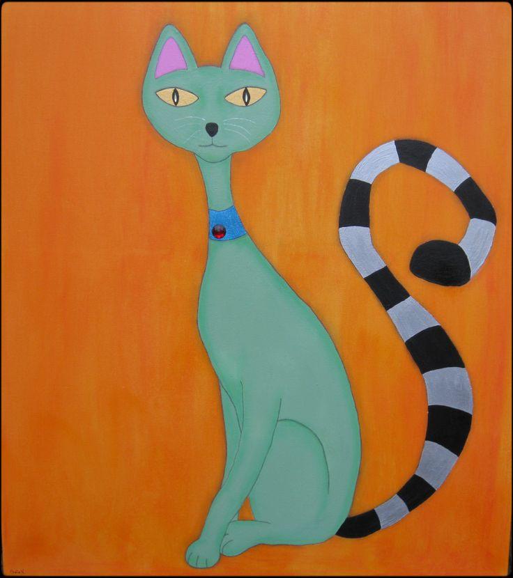 Green, funky cat. Mixed media on canvas. 80x100 cm.  ©Sheila Nielsen