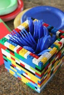 Cool holder for a LEGO party, for flatwear and more!