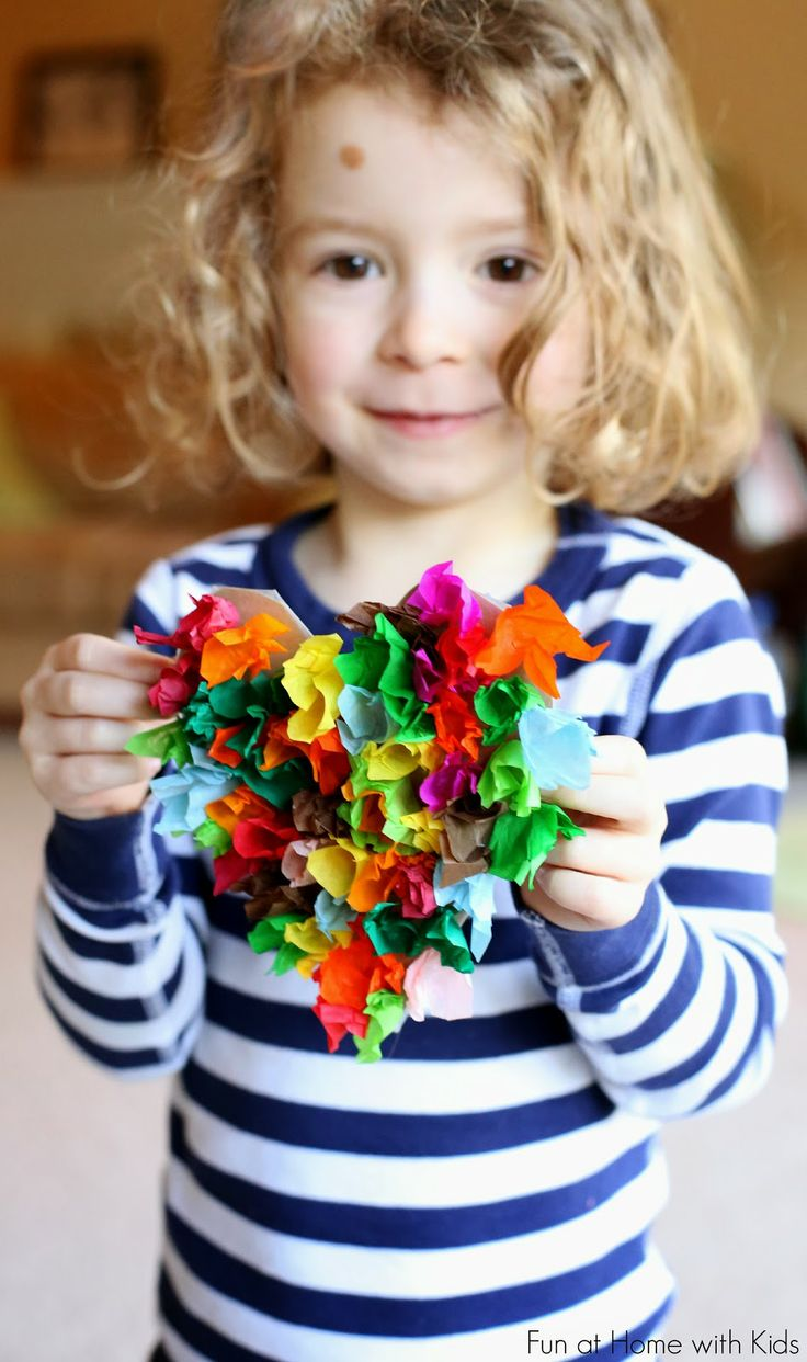 Tissue Paper Heart Craft for Kids from Fun at Home with Kids
