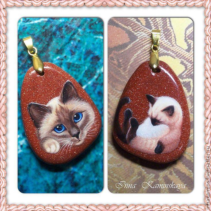 Купить Портреты Двусторонний кулон - рыжий, авантюрин, блёстки, коты и кошки, котёнок, сонный ангел