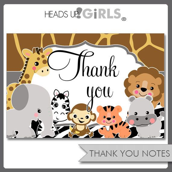 Digital Printables Wild Animals Thank You Notes with ...