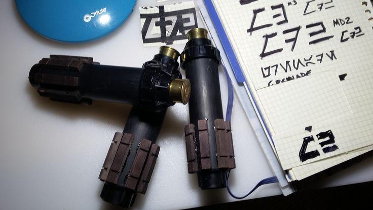 Sprinkler parts, spent 12 ga. shotgun shells, wooden s-gauge railroad ties.