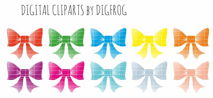 Christmas bows, clipart, christmas decor scrapbooking card making cupcake toppers christmas tree decor, red green yellow blue christmas bows by DigiFrog on Etsy