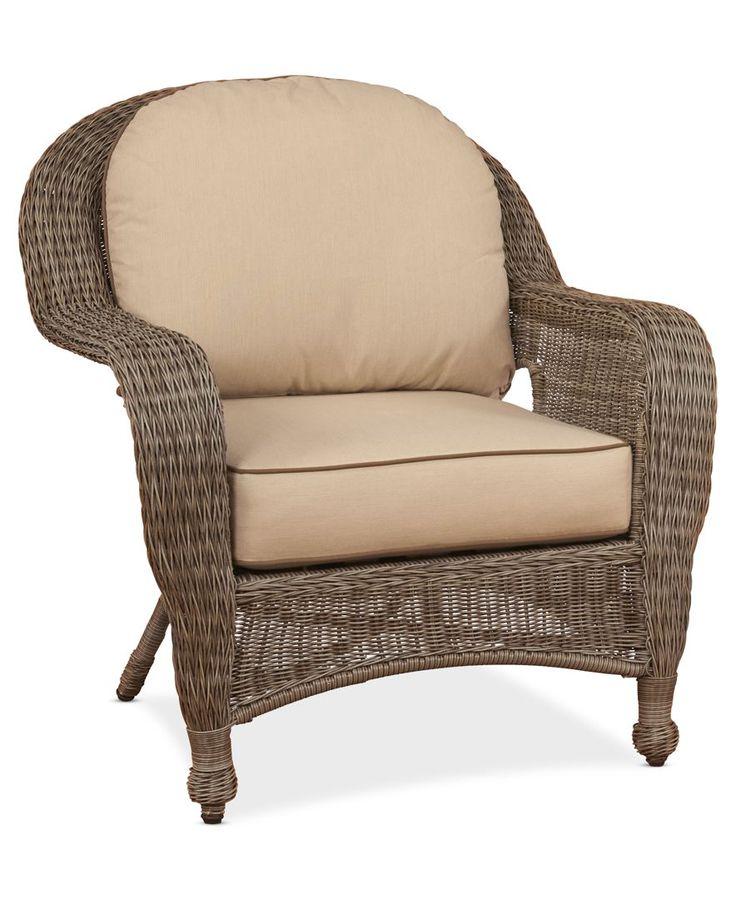 Sandy Cove Wicker Outdoor Club Chair Custom Sunbrella