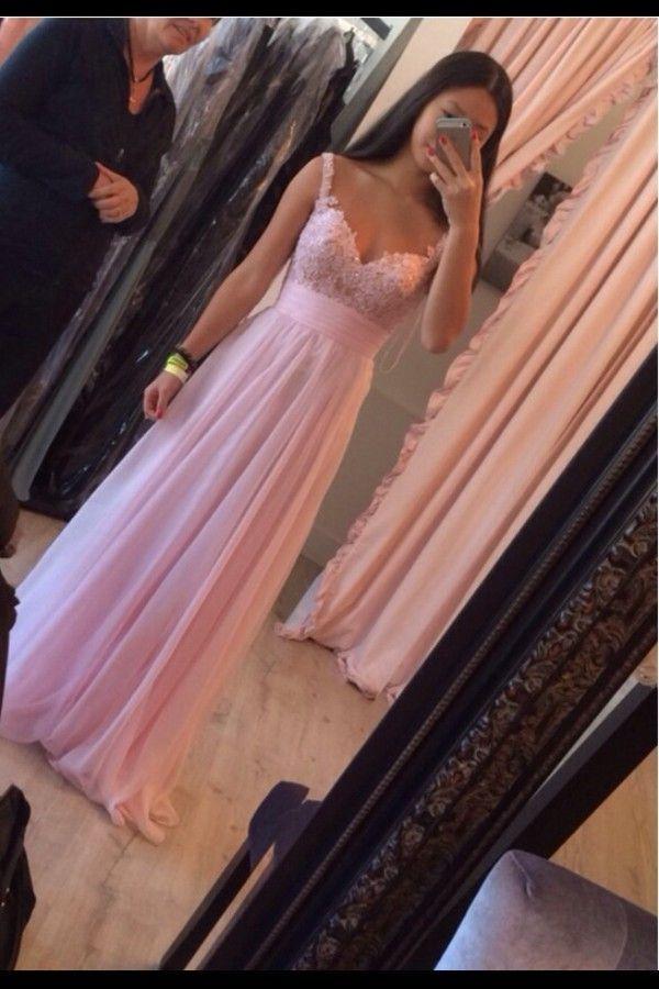 Elegant Handmade Lovely Pink Floor Length Chiffon Prom Dresses 2015 With Applique, Pink Prom Dresses, Pink Bridesmaid Dresses, Evening Dresses