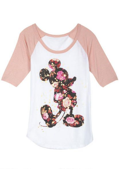 Mickey Mouse. ||  ♡ Not 'HUGE' on Mickey, but I love the modern shirt and flowered iron-on combo! ♥A