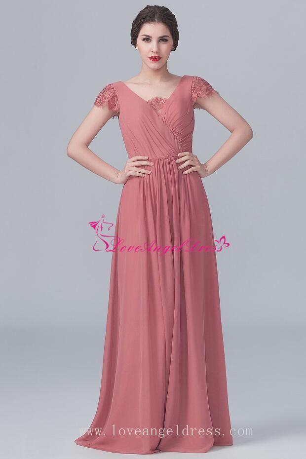 36b38585093 V-neck Lace Capped Sleeves Chiffon Long Dresses for Bridesmaid | beautiful  dresses | Chiffon dress long, Bridesmaid dresses, Dresses