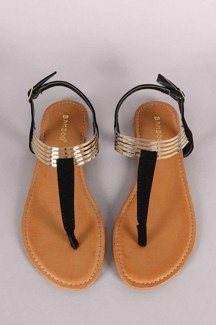 Bamboo T Strap Cuff Flat Sandal