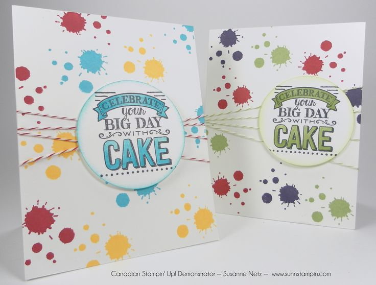 SU! Big Day and Perpetual Birthday Calendar (paint splatters) stamps; colors are Tempting Turquoise, Daffodil Delight and Real Red (card in front) and Real Red, Elegant Eggplant and Wild Wasabi (card in back) - Susanne Netz