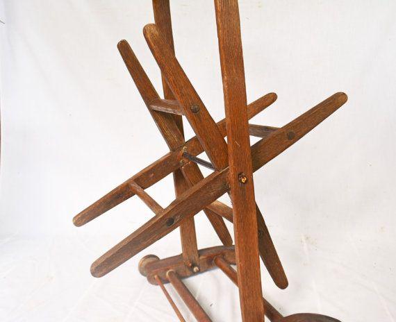 #Vintage Wooden Yarn Winder, Floor Yarn Holder, Primitive Textile Handmade Tool, Collectible Knitting Tool  A wonderful wooden yarn winder, a floor yarn holder for large amo... #vintage