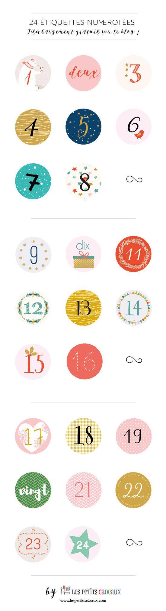 """Une collection de 24 étiquettes """"chiffres"""" gratuites à télécharger - spéciales calendriers de l'Avent."""