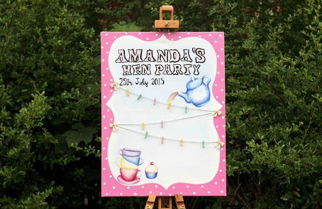 Hen Party message board/canvas Tea party themed! http://kateskraftblog.blogspot.co.uk/