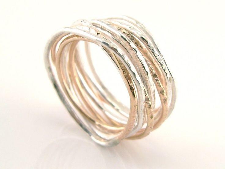 Wikkelring zilver en roodgoud- Myrthe Cools 9499