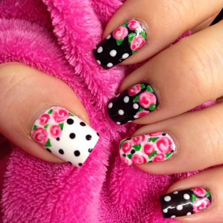 vintage rose nails ideas