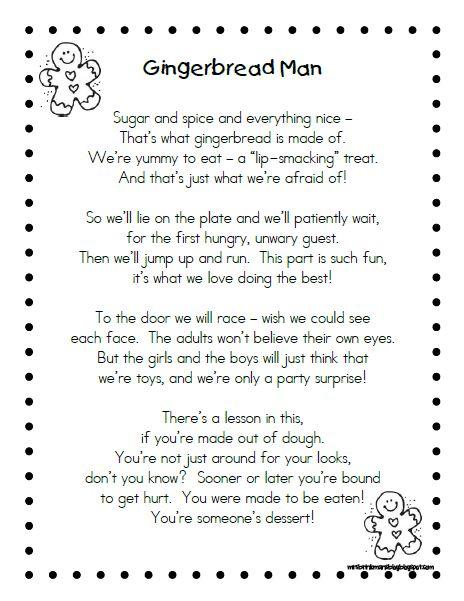 gingerbread man poem | Mrs. Brinkman's Blog: Gingerbread Activities