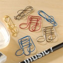 Every music fan needs these cool multi-colored paper clips that are bent into treble clefs and musical notes. Finally, a way to mix work with music! Set of 15, assorted colors. $4.99