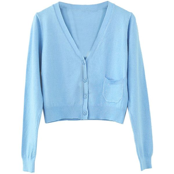 Sky Blue Button Up Pocket Detail Long Sleeve Crop Cardigan (44 AUD) ❤ liked on Polyvore featuring tops, cardigans, cropped cardigan, long sleeve cardigan, blue crop top, crop top and long button down cardigan
