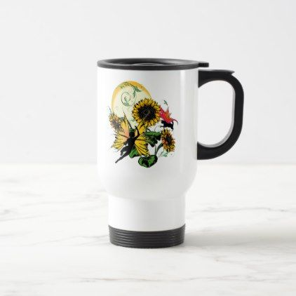 Sunflower Shadow Fairy and Cosmic Cat Travel Mug - home gifts ideas decor special unique custom individual customized individualized