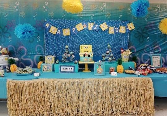 SpongeBob SquarePants party: Spongebob Parties, Grass Skirt, Spongebob Birthday Parties, Sponge Bobs, Tables Skirts, 3Rd Birthday, Parties Ideas, 2Nd Birthday, Birthday Ideas