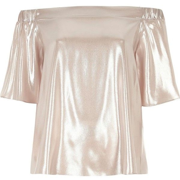 River Island Metallic pink bardot top (€32) ❤ liked on Polyvore featuring tops, bardot / cold shoulder tops, pink, women, pink top, short sleeve tops, metallic top, river island top and tall tops