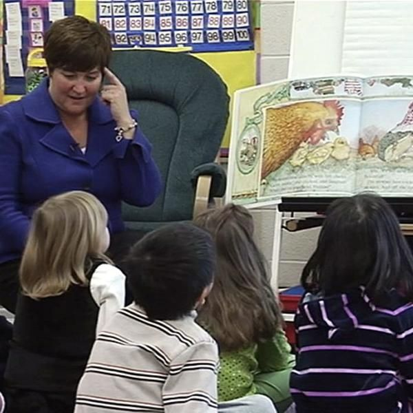INSTRUCTION: In this video, the teacher teaches students to think when a story is being read. She reminds them before she begins to read out loud, that she will ask them what their favourite part of the story is once she is done. Students discuss their favourite parts once the story has been read and proceed to draw it out. This is a good strategy to teach beginner readers.