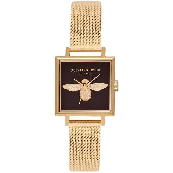 Olivia Burton OB16AM90 Animal Motifs Square Bracelet Strap Watch (795 RON) ❤ liked on Polyvore featuring jewelry, watches, water resistant watches, leather-strap watches, bee charm, bumble bee jewelry and square wrist watch
