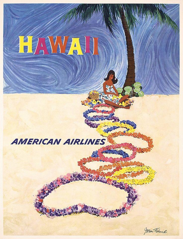 Lot 398: Original 1960s Hawaii Airline Travel Poster FERNIE ART - PosterConnection Inc. | AuctionZip