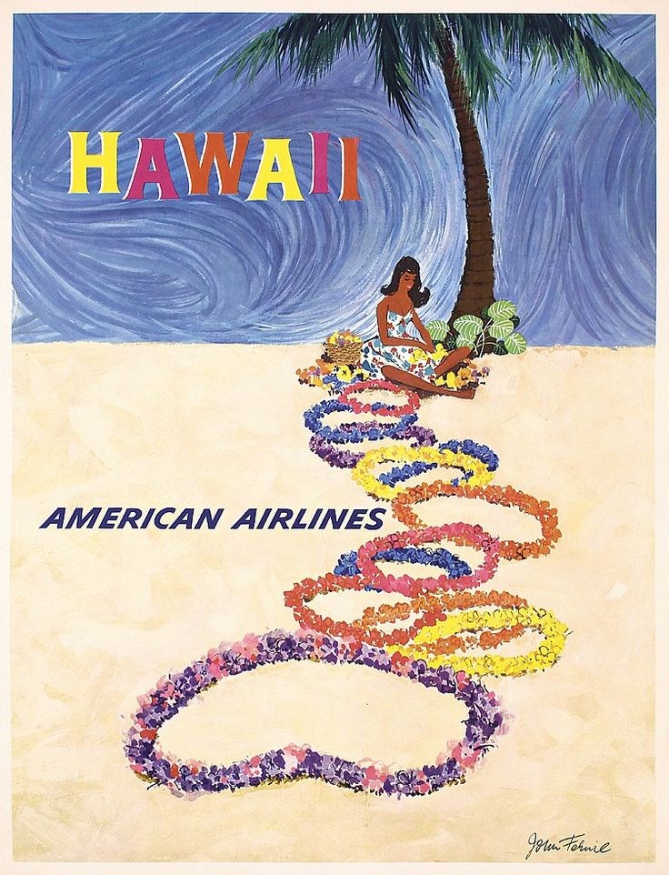 Lot 398: Original 1960s Hawaii Airline Travel Poster FERNIE ART - PosterConnection Inc. | AuctionZip