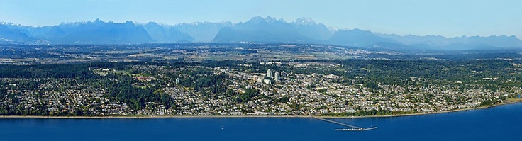 Gorgeous #WhiteRock Aerial Photo - OCEAN VIEWS from an Aerial Panorama of almost the entire city of White Rock with almost every house identifiable in sharp detail. Taken from the ocean with the pier and the coast mountains. Amazing.