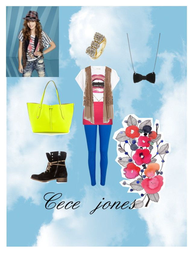 """""""Cece jones from shake it up"""" by isabellajordan ❤ liked on Polyvore featuring River Island, Fox, Daytrip, Annabel Ingall, CeCe, BaubleBar and Tatty Devine"""