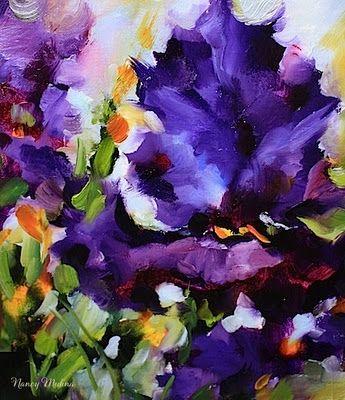 Gold Tipped Blue Iris by Texas Flower Artist Nancy Medina, painting by artist Nancy Medina