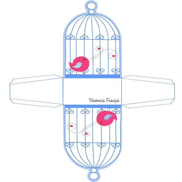 Preciosa Caja de Pájaro en Jaula para Imprimir Gratis